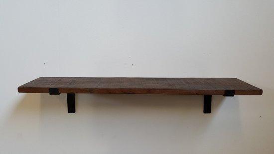 Wandplank Zwart Metaal Hout.Wandplank Factory Gerecycled Hout Metaal 80 Cm