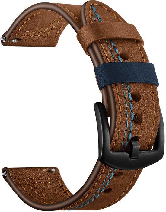 SmartphoneClip Leren bandje - Samsung Galaxy Watch (46mm) - bruin/blauw