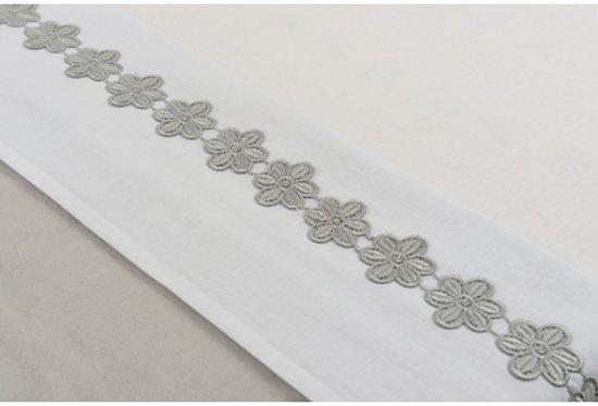 Jollein - Wieglaken 75x100 cm Flower Strip - Grijs