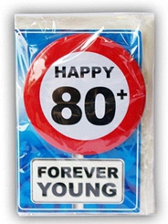 Vaak bol.com | Happy Birthday kaart met button 80 jaar, Merkloos #EM85