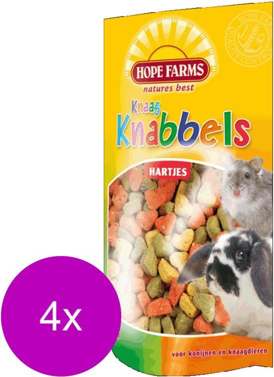 Hope Farms Knaagknabbel Hartjes - 4 x 100 gr - Knaagdiersnack