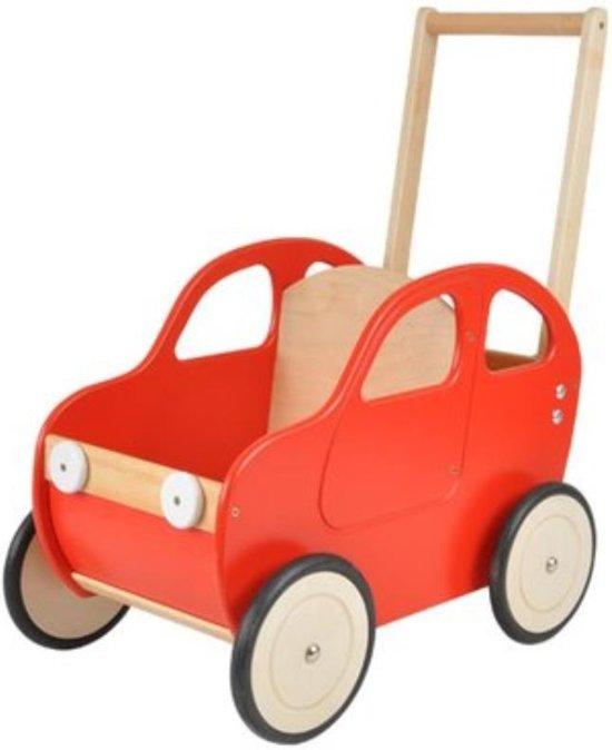 Playwood - Houten Duwwagen auto rood - Duwauto - Loopwagen