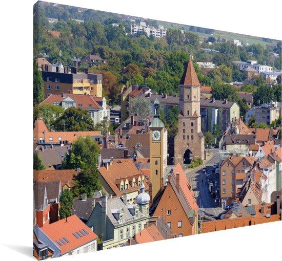 Uitzicht over de Duitse stad Augsburg Canvas 180x120 cm - Foto print op Canvas schilderij (Wanddecoratie woonkamer / slaapkamer) / Europese steden Canvas Schilderijen XXL / Groot formaat!