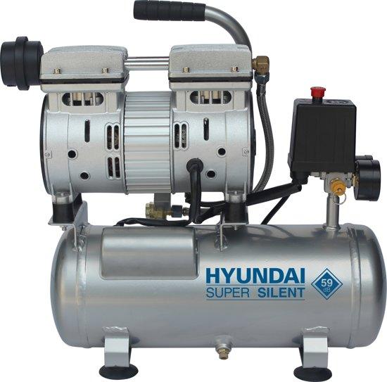 Hyundai stille compressor 6 liter met vochtafscheider - olievrij - 8 BAR - 59 dB 'Super Silent'.