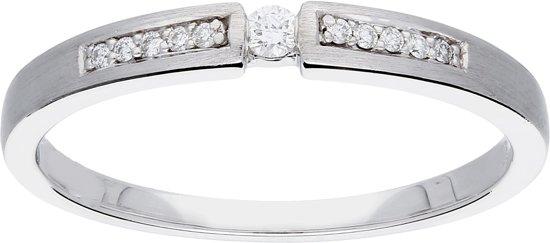 Glow ring met diamant solitaire - 11-0,07ct G/SI- witgoud 14 kt - mt 50