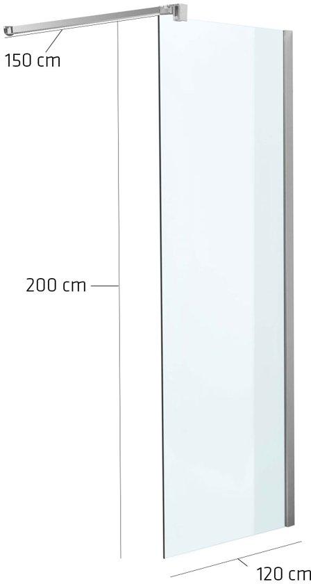 Douchewand 200 X 120.Clp Square Roestvrijstalen Douchewand Nano Glas Helder Glas 120 X 200 X 150 Cm