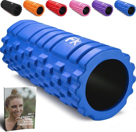 FFEXS Foam Roller - Therapie & Massage voor rug benen kuiten billen dijen - Perfecte zelfmassage voor sport fitness hardlopen - 34cm x 14cm Blauw