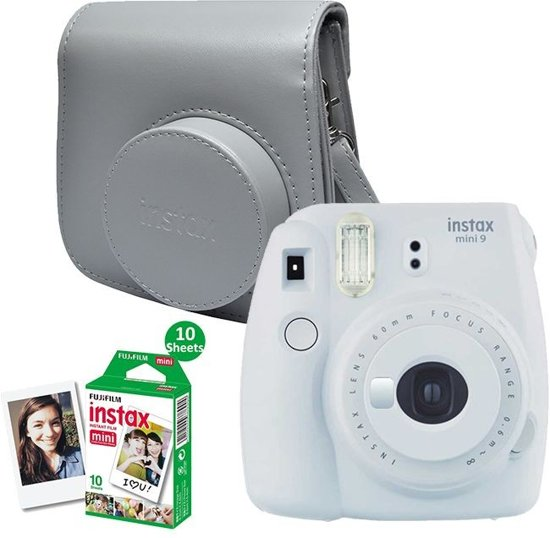 Fujifilm Instax Mini 9 - Incl. Instax Film Mini 10st + Case - Smokey White