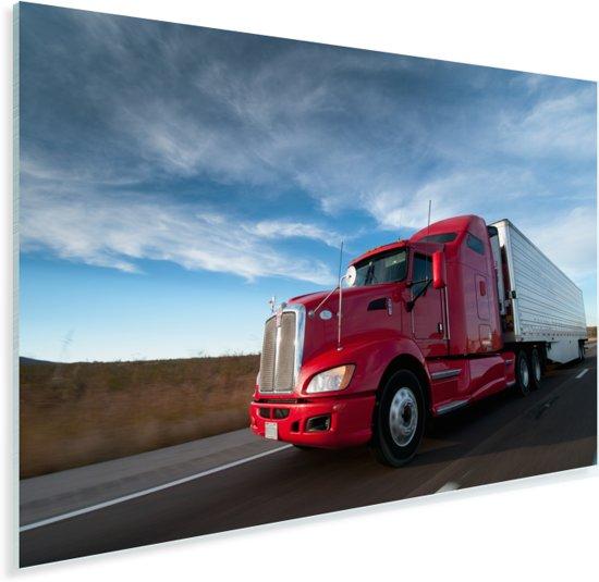 Rode vrachtwagen met een dreigende lucht Plexiglas 180x120 cm - Foto print op Glas (Plexiglas wanddecoratie) XXL / Groot formaat!
