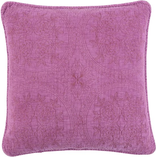 Kussenhoes stonewashed 40*40 cm Donker roze   Q181.020DP   Clayre & Eef