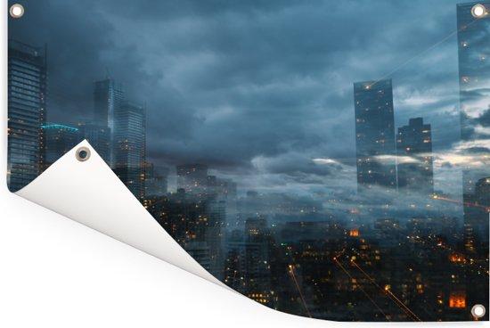 Mist hangt over de Noord-Amerikaanse stad Toronto in Canada Tuinposter 120x80 cm - Tuindoek / Buitencanvas / Schilderijen voor buiten (tuin decoratie)