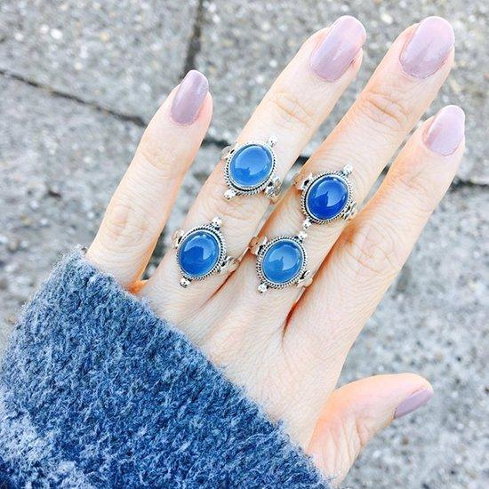 Earthshine ring Blue Chalcedony - maat 20.00 mm - maat 20.00 mm