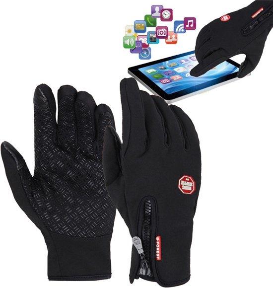 Fietshandschoenen Winter Met Touch Tip Gloves - Anti-Slip - Touchscreen Sport Handschoenen - Dames / Heren - Zwart - M