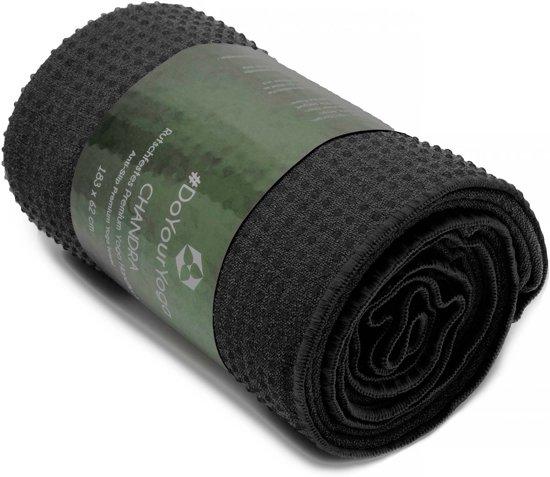#DoYourYoga - Yogahanddoek - »Chandra« - met siliconen noppen & anti-slip - 183 x 62 cm - zwart