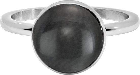 Quiges Stapelring Ring - Vulring - RVS Zilverkleurig met Grijze Cateye - Maat 19 - Hoogte 2mm