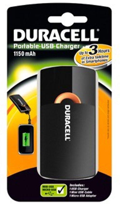 Duracell 3 uurs mobiele oplader - Zwart - 1150 mAh