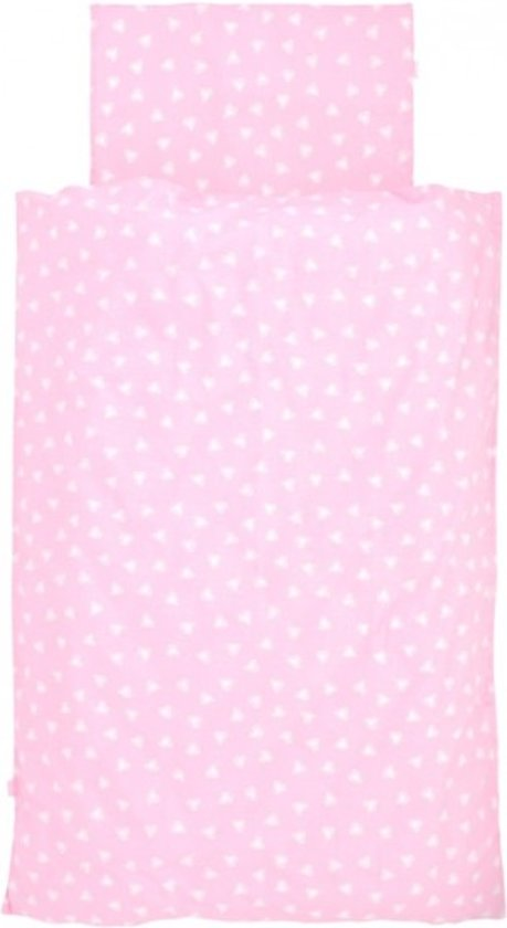Jollein - Dekbedovertrek 100x140 cm + kussensloop - Hearts Pink