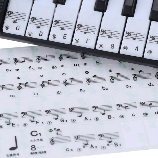 Piano/Keyboard Stickers - Eenvoudig muzieknoten leren - Geschikt voor 49, 61 en 88 toetsen