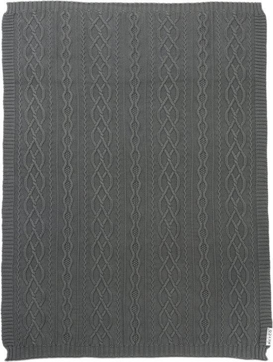 Meyco Silverline Stonewashed Cable ledikantdeken - 100x150 cm - grijs