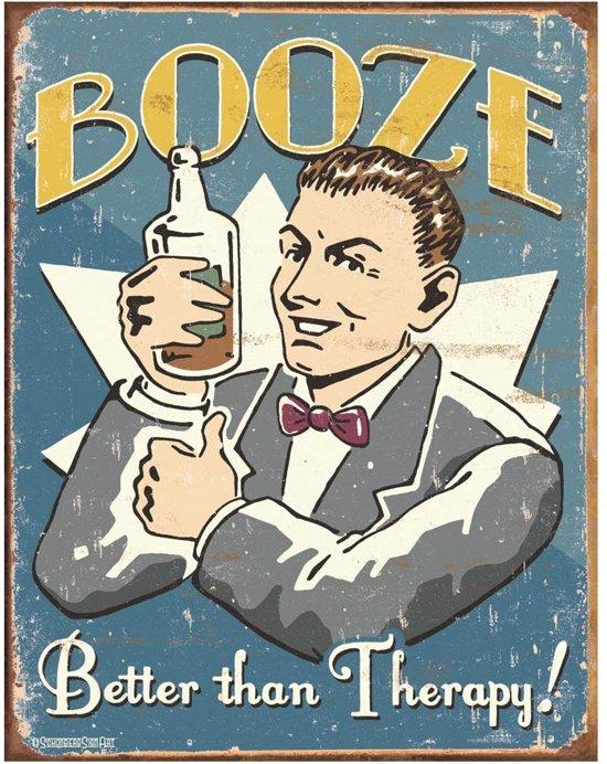 Metalen Retro Bord Booze Therapy