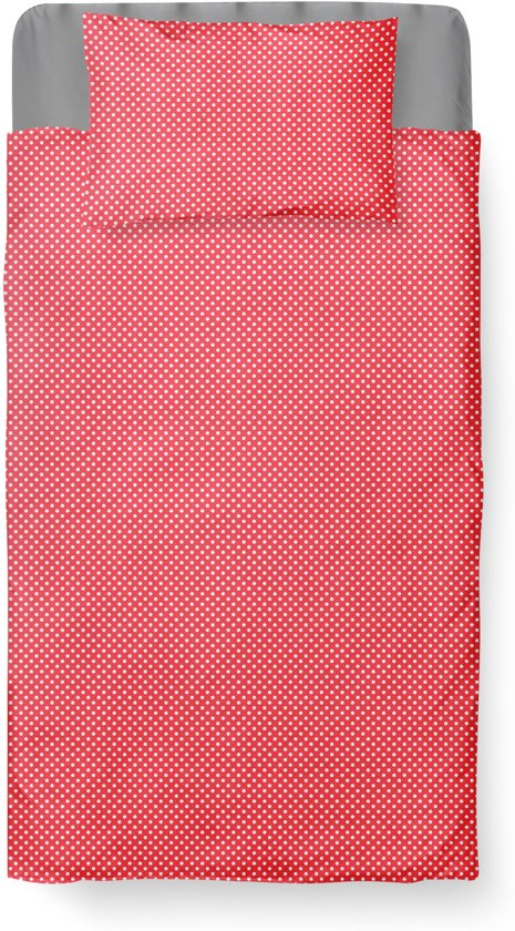 Dekbedovertrek Ledikant - Katoen - 100 x 135 - Rood - Baby Dots Red incl. Kussensloop