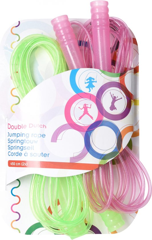 Tender Toys Springtouwset Double Dutch Groen/roze 450 Cm