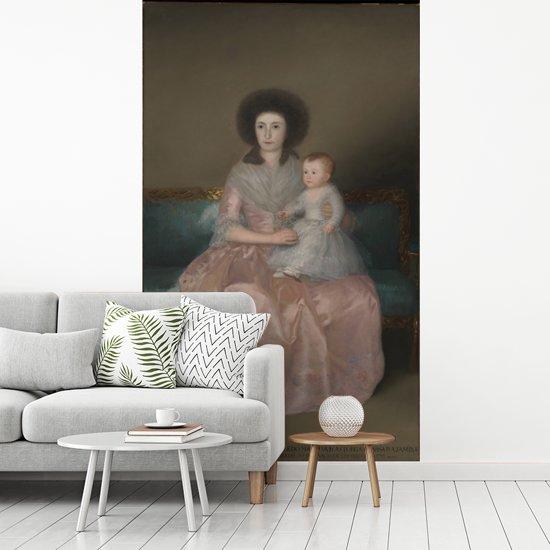 Fotobehang vinyl - Gravin de Altamira en Haar Dochter María Agustina - Schilderij van Francisco Goya breedte 205 cm x hoogte 360 cm - Foto print op behang (in 7 formaten beschikbaar)