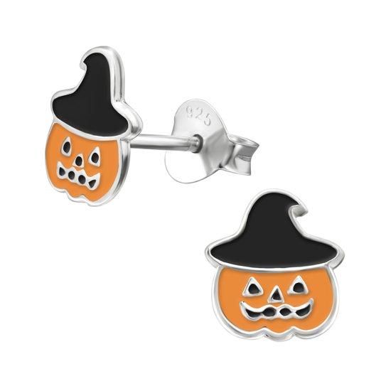 Halloween pompoen oorknopjes - Toverstaartjes kinderoorbellen