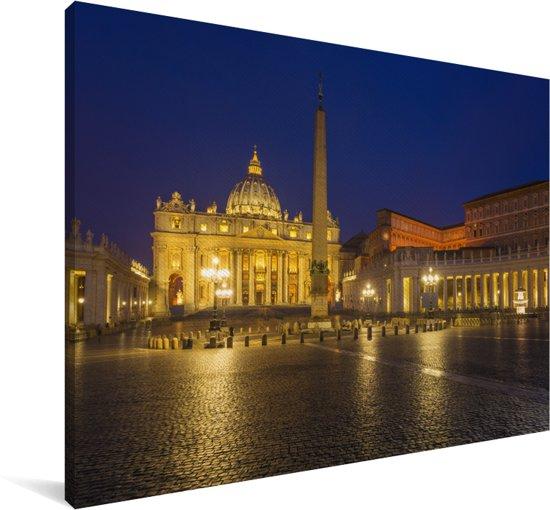 De basiliek op het Sint Pietersplein is verlicht in de avond in Italië Canvas 30x20 cm - klein - Foto print op Canvas schilderij (Wanddecoratie woonkamer / slaapkamer)