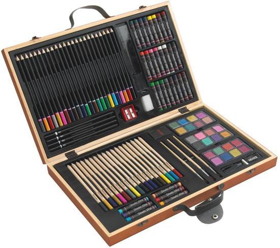 Afbeelding van 88-delige tekenset in houten koffer speelgoed