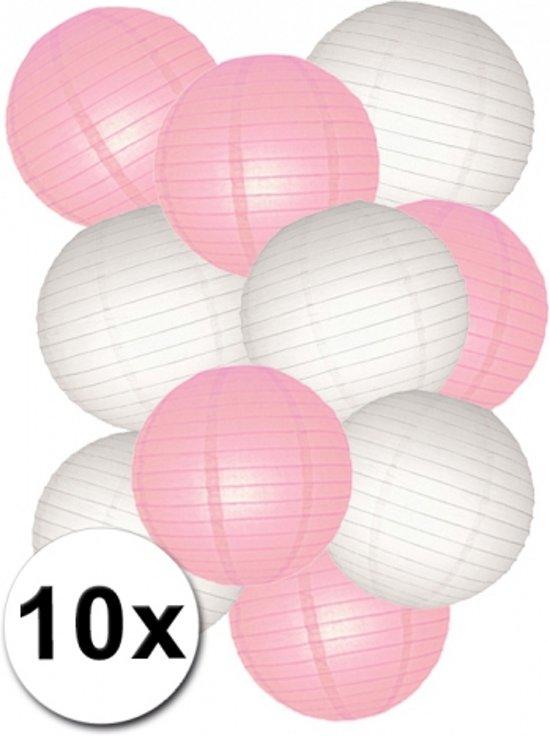 Roze met witte lampionnen pakket 10 stuks Valentinaa