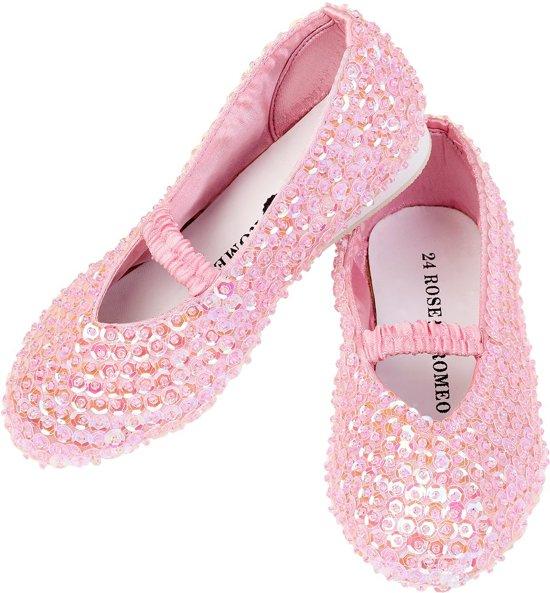 Prinsessen Schoenen Lily, roze pailletten bij prinsessenjurk of k3 jurk - mt 24