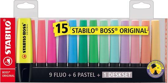 STABILO BOSS ORIGINAL Markeerstiften - Deskset Met 15 Kleuren