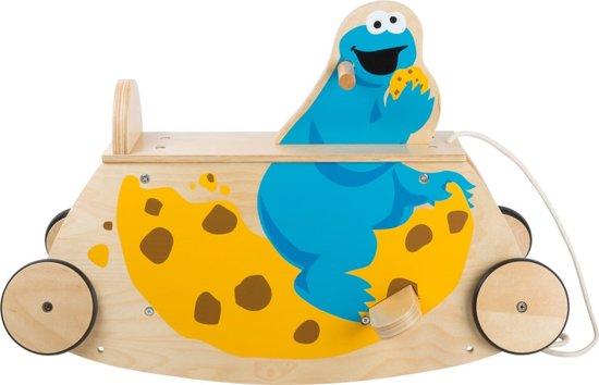 Trekfiguur + ride on hout - Koekiemonster - Sesamstraat speelgoed - Houten speelgoed vanaf 1 jaar - FSC®