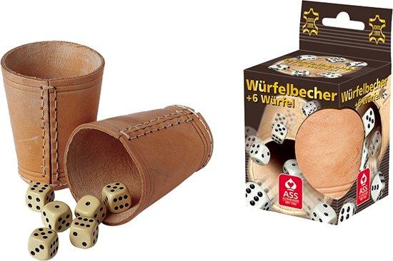 Afbeelding van het spel Philos losse lederen dobbelbeker met dobbelstenen