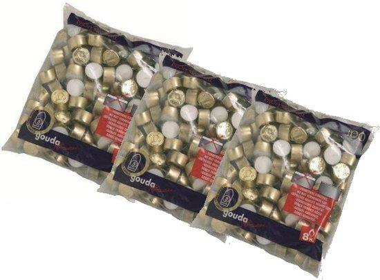 Gouda waxinelichtjes - 8 uur - 100 stuks - Wit - 3 Zakken