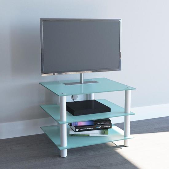 Tv meubel tv kast sindas wit mat glas for Tv meubel glas