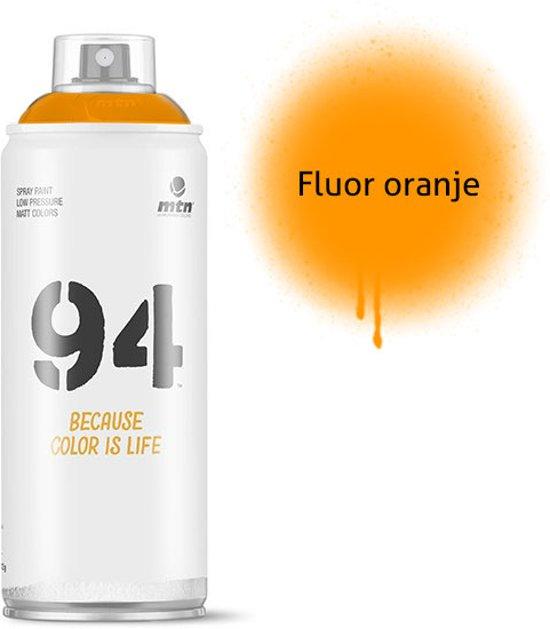 MTN94 Fluoriserend oranje spuitbus - 400ml lage druk en matte afwerking spuitverf - Graffiti verf voor vele doeleinden zoals voor diy, klussen, graffiti, hobby en kunst
