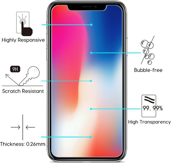 2 Stuks Pack iPhone X Screenprotector Tempered Glass Glazen Gehard Screen Protector 2.5D 9H (0.3mm) ( Zeer sterk Materiaal)
