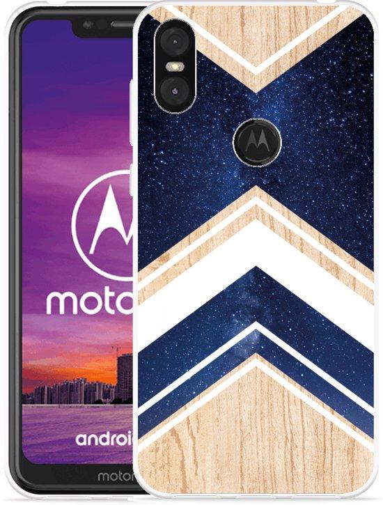 Motorola One Hoesje Space wood