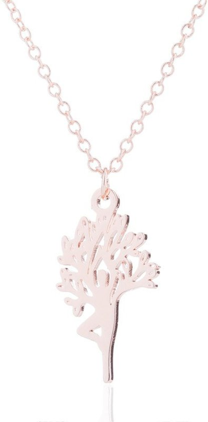 24/7 Jewelry Collection Yoga Boom Ketting - Rosé Goudkleurig