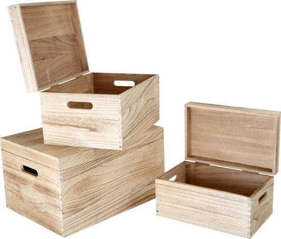 small foot houten kist naturel met deksel 3 delig. Black Bedroom Furniture Sets. Home Design Ideas