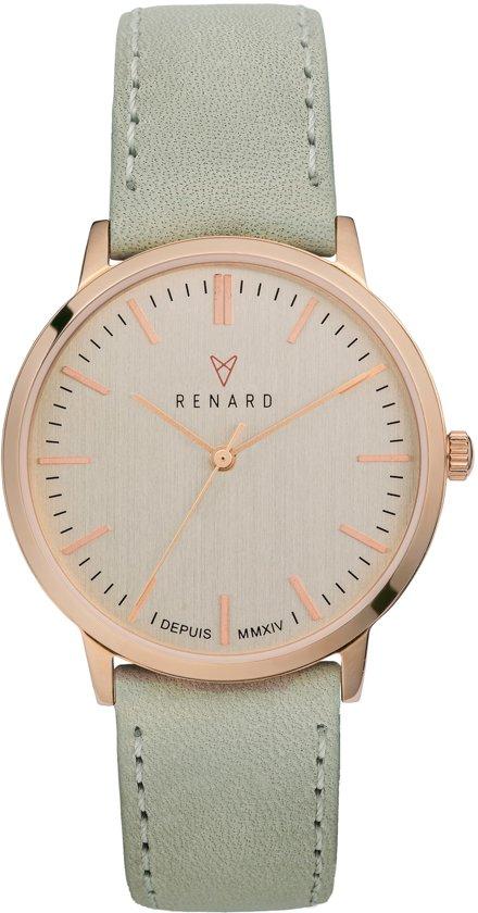 Renard Elite Rose Gold Veau Biscaye RA361RG12BSC - Horloge - Leer - Grijs - 35.5  mm