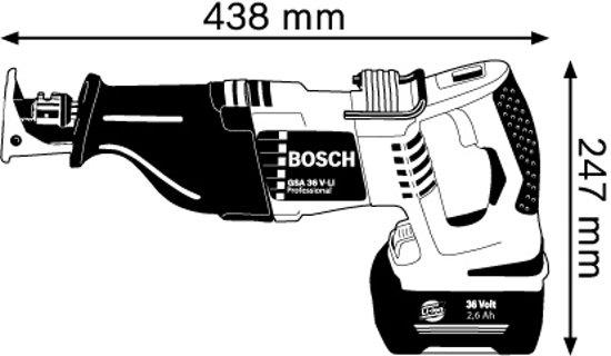 Bosch Professional GSA 36 V-LI Accu reciprozaag - 36 V - Met 2 x 2,6 Ah Li-Ion-accu's, snellader en opbergkoffer