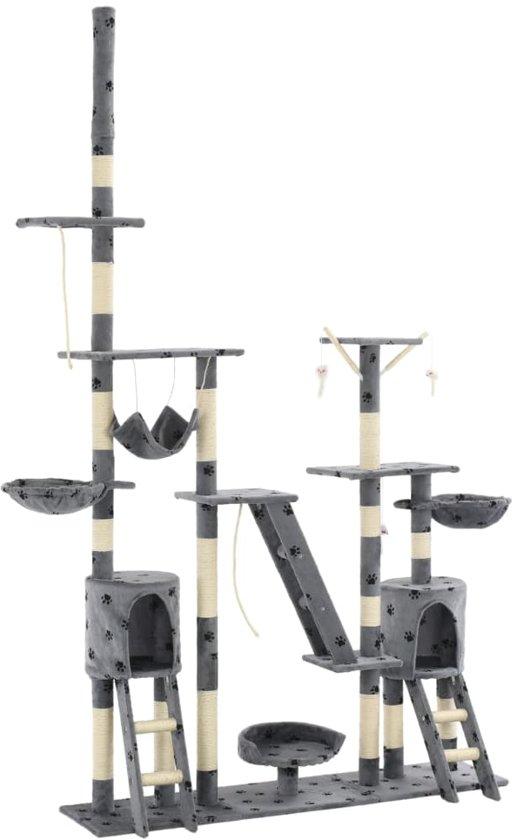 vidaXL Kattenpaal met sisal krabpalen 230-250 cm pootafdrukken grijs