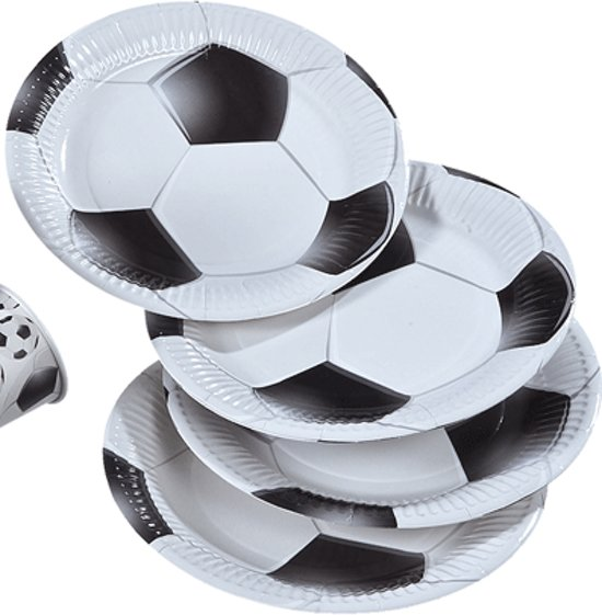 Papieren voetbal bordjes 8 stuks