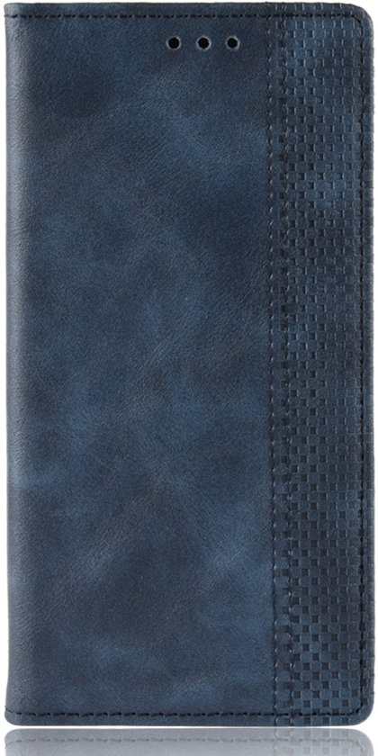 Mobigear Magnetic Buckle Retro Luxe Wallet Hoesje Blauw Motorola One Vision