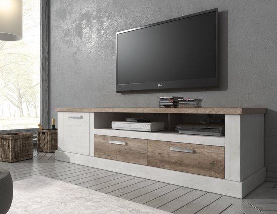 Meubella tv meubel danvill wit eiken 180 cm for Tv meubel design outlet