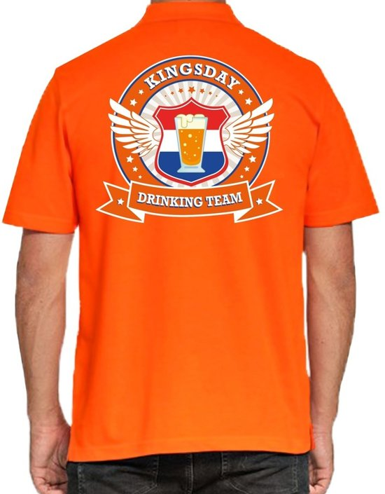 Kingsday Drinking Team poloshirt heren -  heren polo -  Koningsdag kleding 2XL