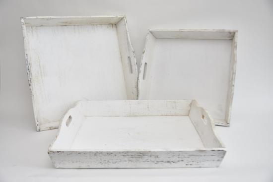 Dienblad Hout White-Wash 50x50x7cm (set van 3)